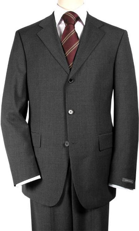 SKU# 546 premier quality italian fabric Charcoal Gray Super 150s Wool Mens Suits $199