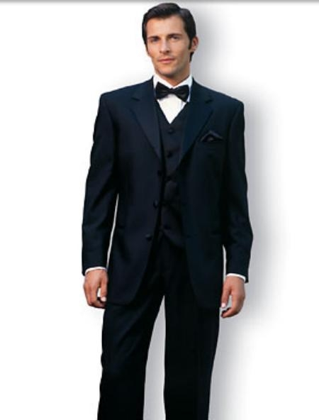 SKU# UYY741 Premier Quality Italian Fabric Designer 2 button Black Vested Tuxedo Super 150S Wool Jacket + Pants + Shirt + Bow Tie + Vest Package $190