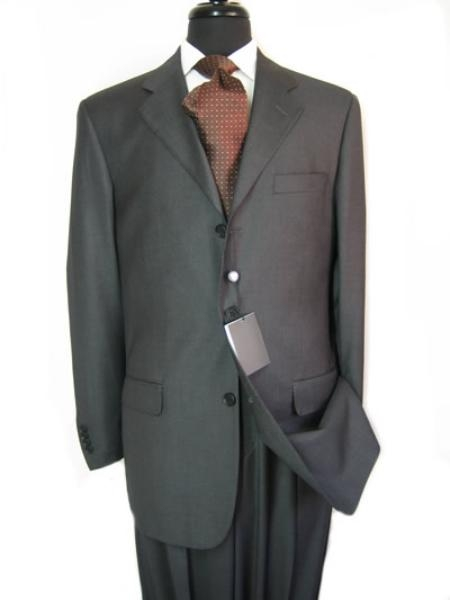 SKU# SAT954 premier quality italian fabric Double Vent Super 150s Wool Slid  Charcoal Gray $175