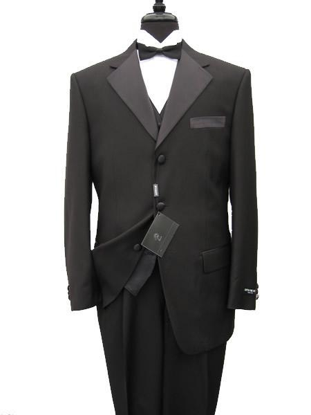 SKU# OKF355 premier quality italian fabric Vested Mens Tuxedo Super 150s Wool Jacket + Pants + Shirt + Bow Tie $225