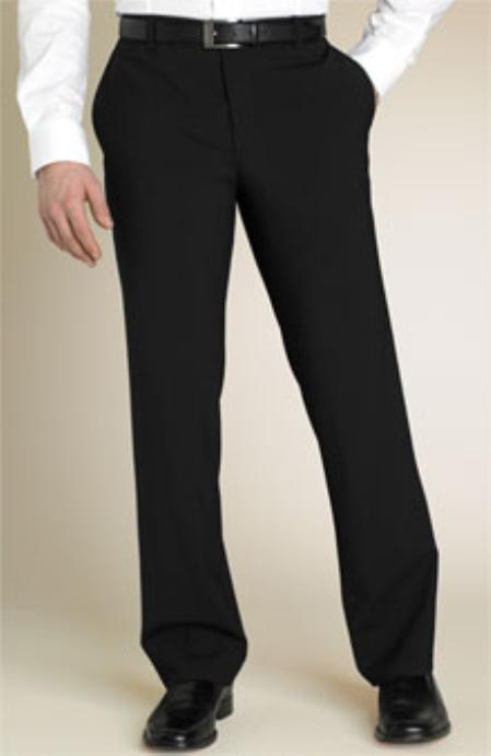 Black Flat Front Pants