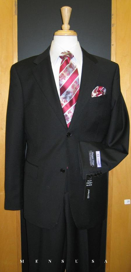 Black 2 Button Suit With Pick Stitching