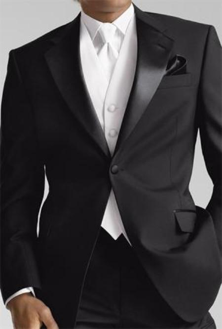 Black 1 button Tuxedo With Flat Front Pants