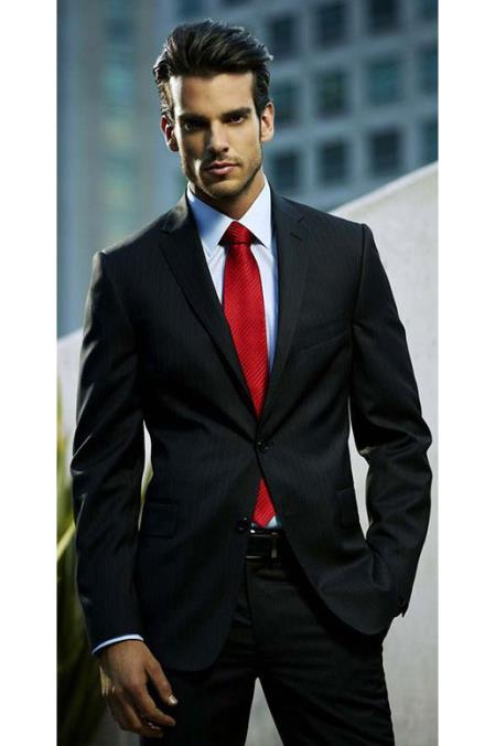 Sku Sm5219 Mens Black Suit White Shirt Red Tie Combination Package Deal