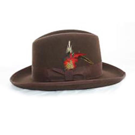 Men s  Godfather  Brown 100% Wool Homburg Dress Hat 4201 d6a34bb96d74