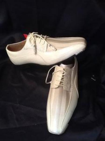 Mens Dress Ivory Cream Off White Two Toned Dress Shoes