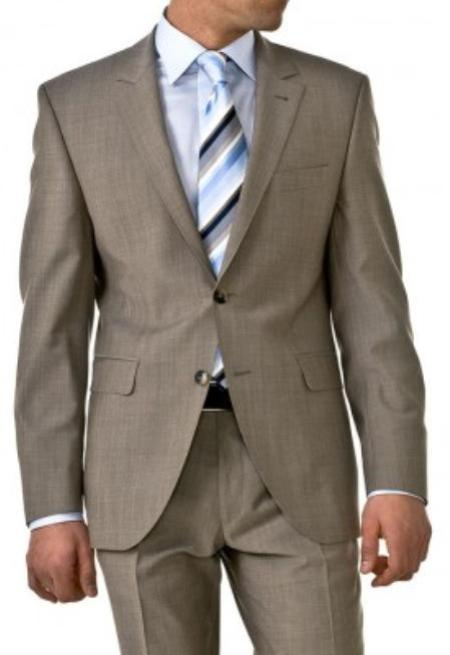 SKU#HW038 Professional Tan ~ Beige~Taup Mini Pindots Teakweave Nailhead Salt & Pepper Birdseye Patterned 2 Btn Summer Suit $139