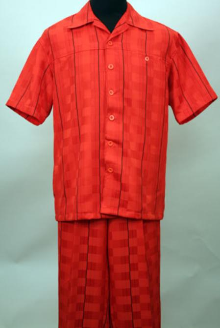 SKU#FEW912 Red 2 Pc Shirt and Pants Set $99