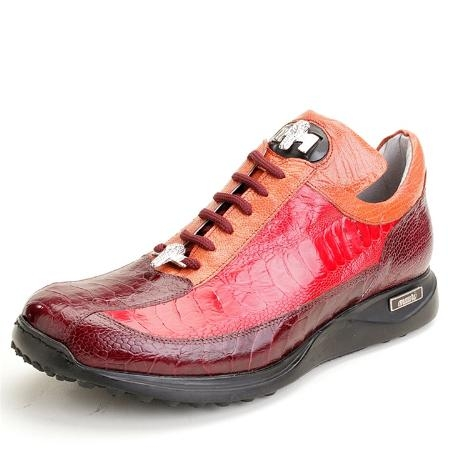 SKU#RM3002 Red Multi Genuine Ostrich
