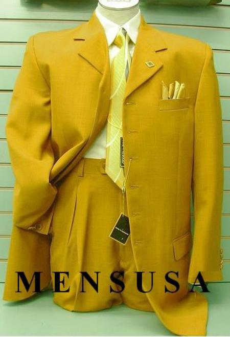 SKU# HSX472 RF76 Gold/Broz 34 Inch Jacket Vested Long Fashion Suits $285