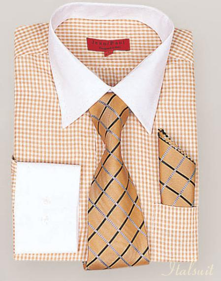 SKU#MA9103 Rust Shirt Tie and Hankie Set $500