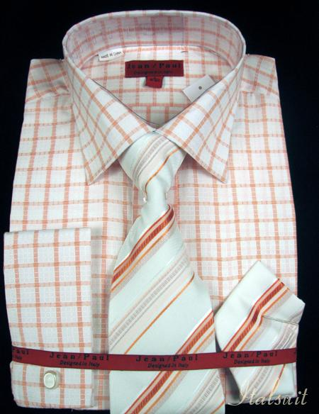 SKU#HB8111 Rust Shirt Tie and Hankie Set (Clon) $65