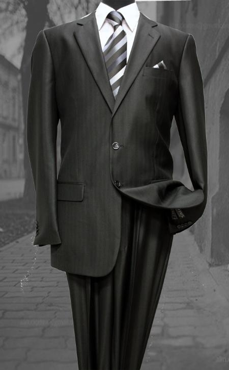 SKU#ANA_TE7012 Shiny sharkskin Single Breasted Mens Suit Side-vented Black