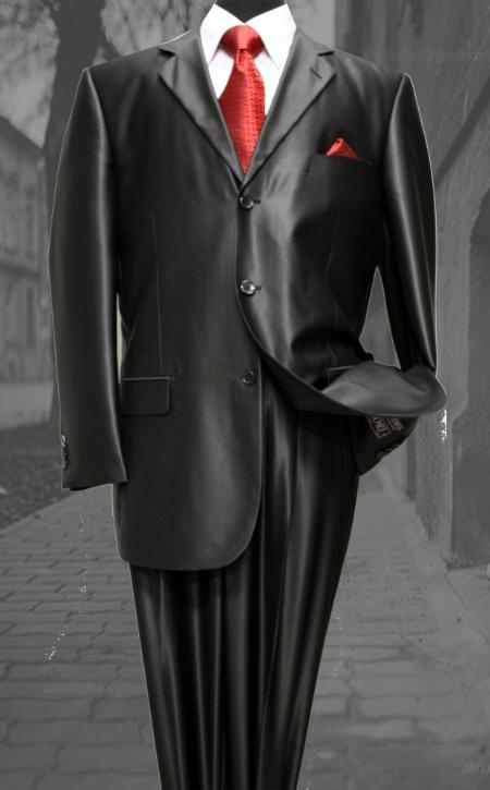 SKU#CE2990 Shiny sharkskin Single Breasted Mens Suit Side Vented-Black