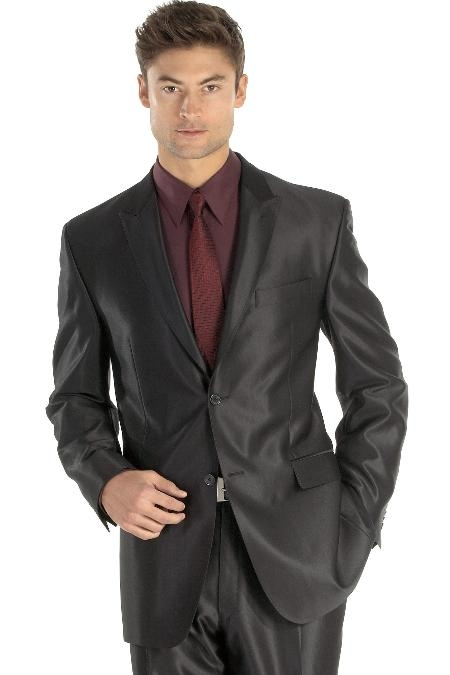 SKU#ANA_M118S Shiny sharkskin Single Breasted Mens Suit Side-Vented Black $189