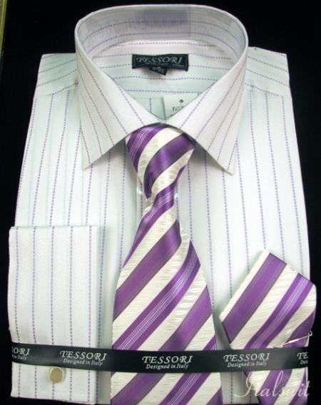 SKU#JA9911 Shirt Tie and Hankie Set - Lavender $65