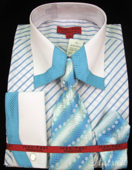 SKU#JV9211 Shirt Tie and Hankie Set - Turquoise $65