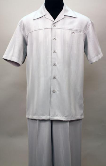 SKU#QM1288 Silver 2 Pc Shirt and Pants Set $99