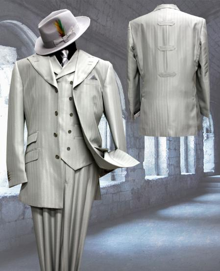 SKU#TM8292 Silver Tone on Tone 3pc Fashion Zoot Suit $250