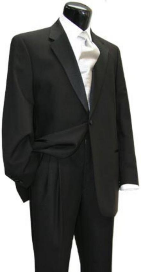 SKU# 1BX-29 simple Wool Worsted Flat Front Pants Wool One Button Notch Tuxedo Jacket