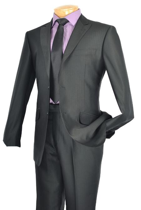 SKU#GC7322 Single Breasted 2 Button Peak Lapel Pointed English Style Lapel Slim Suit Black $185