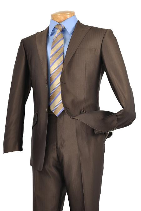 SKURS2246 Single Breasted 2 Button Peak Lapel Pointed English Style Lapel Slim Suit Brown $185