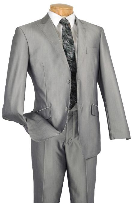 SKU#GR7211 Single Breasted 2 Button Peak Lapel Pointed English Style Lapel Slim Suit Gray $185