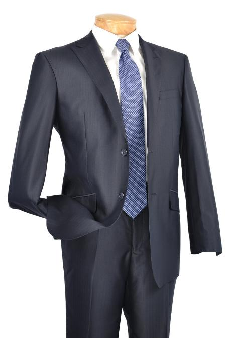 SKU#HY8211 Single Breasted 2 Button Peak Lapel Pointed English Style Lapel Slim Suit Navy $185