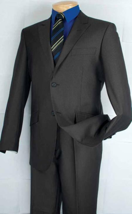 SKU#DE9322 Single Breasted 2 Button Peak Lapel Suit Black