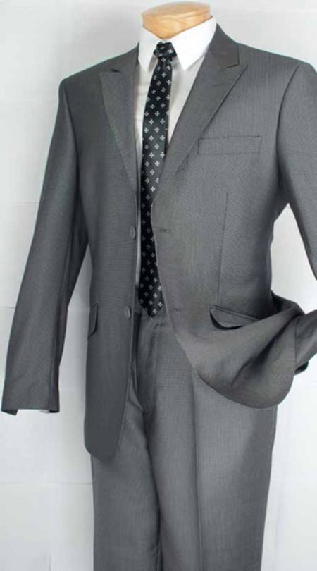 SKU#GR0212 Single Breasted 2 Button Peak Lapel Suit Grey $139