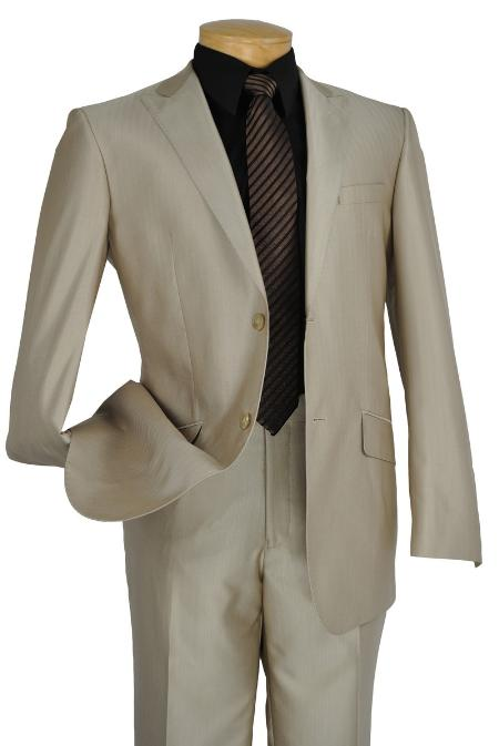 SKU#VN4322 Single Breasted 2 Button Peak Lapel Pointed English Style Lapel Slim Suit Beige $185