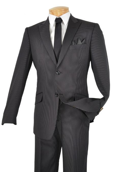 SKU#HS3892 Single Breasted 2 Button Peak Lapel Pointed English Style Lapel Slim Suit Black $185