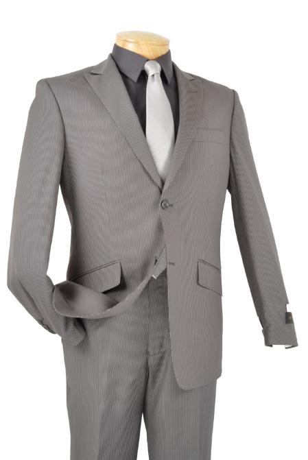 SKU#TM7762 Single Breasted 2 Button Peak Lapel Pointed English Style Lapel Slim Suit Gray $185