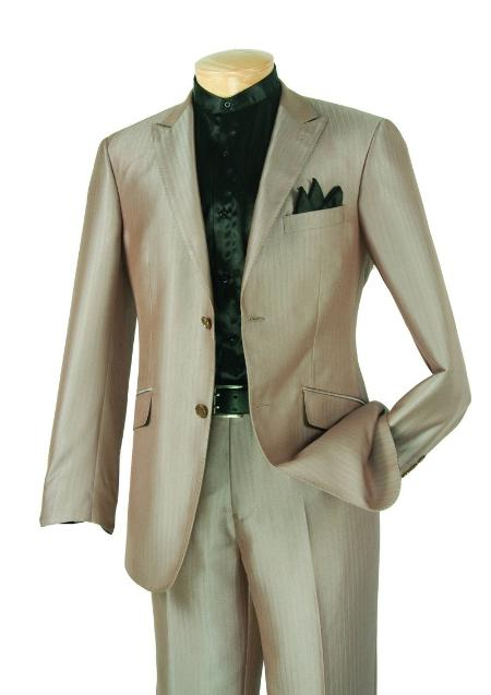SKU#RE4211 Single Breasted 2 Button Peak Lapel Pointed English Style Lapel Slim Suit Taupe $185