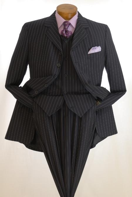 SKU#A675SAMU six button single breasted two piece pinstriped vested zoot suit $139