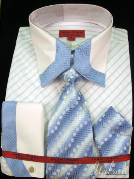 SKU#AL1214 Sky Blue Shirt Tie and Hankie Set $65