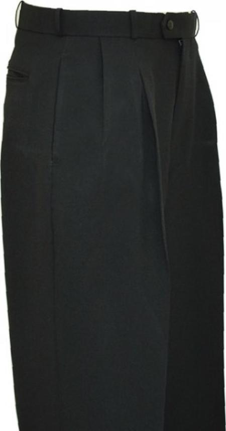SKU#LZ9992 Solid Black Wide Leg Slacks Pleated baggy dress trousers