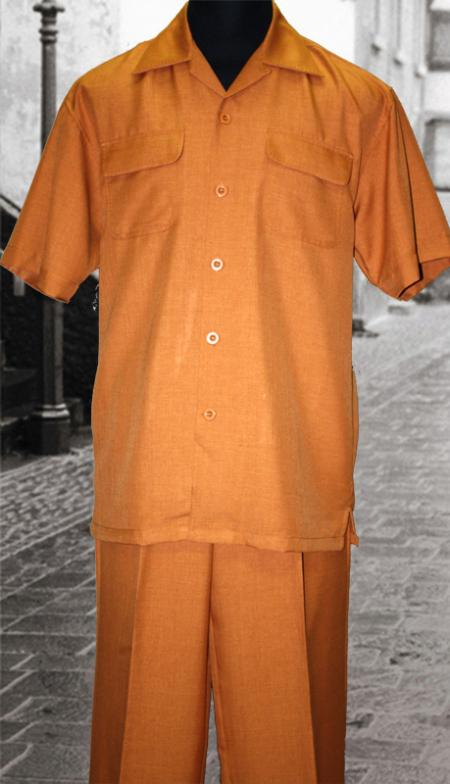 SKU#UV6822 Solid Brick 2 Pc Shirt and Pants Set $99