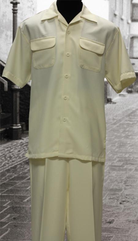 SKU#GB2902 Solid Off white 2 Pc Shirt and Pants Set $99