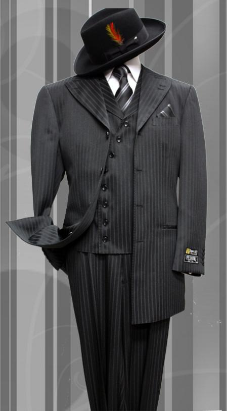SKU#YX2039 Stacy-6 Black Tone on Tone 3pc Fashion Zoot Suit $199