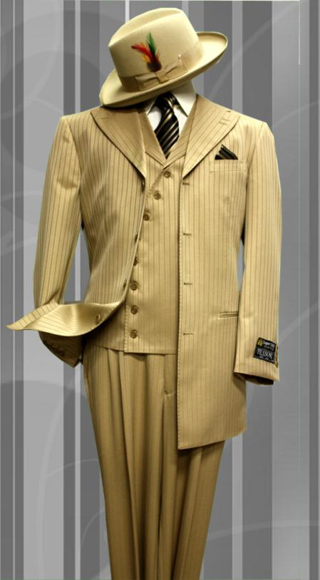 SKU#HM8921 Stacy-6 Camel Tone on Tone 3pc Fashion Zoot Suit $199