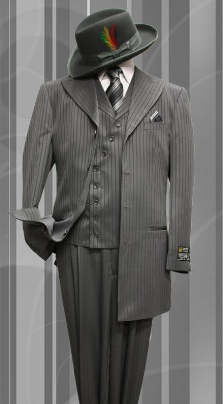 SKU#WM8992 Stacy-6 Charcoal Tone on Tone 3pc Fashion Zoot Suit $199