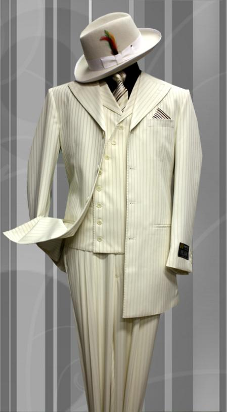 SKU#OW9909 Stacy-6 Off-white Tone on Tone 3pc Fashion Zoot Suit $199