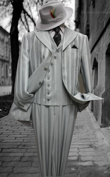 SKU#MF8811 Stacy-7 Mens Fashion Silver Pin Stripe 3pc with Vest & Wide Leg Pants $199