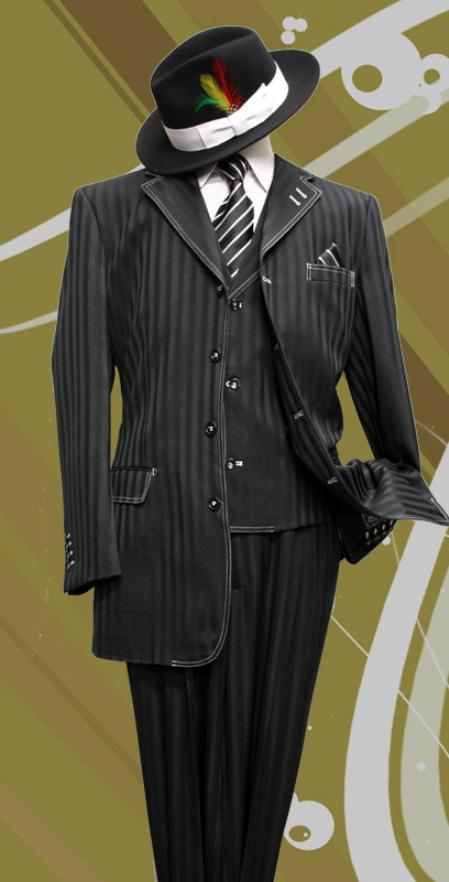 SKU#QD9921 Stacy-8 Black Tone on Tone 3pc Fashion Zoot Suit $199