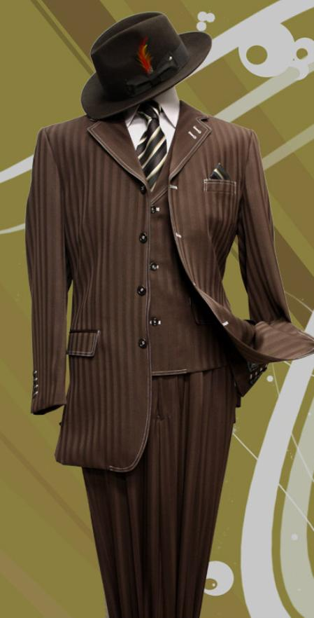 SKU#QV1922 Stacy-8 Brown Tone on Tone 3pc Fashion Zoot Suit $199
