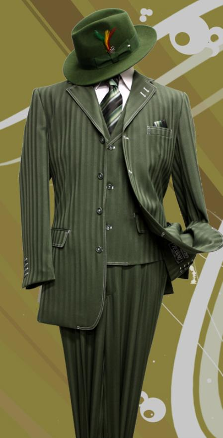 SKU#XD8811 Stacy-8 Olive Tone on Tone 3pc Fashion Zoot Suit $199