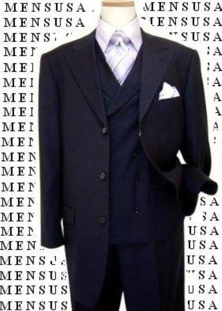 SKU#40901 Super 150s 100% Wool Feel Poly Rayon Peak Lapel Vented Double Breasted Wideleg Pants Suit $129
