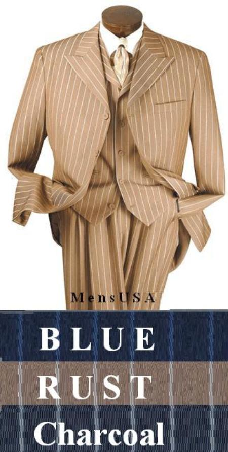 "SKU# UXR113 T64SA 3 Piece Suit, 4 Buttons, 34\"" Length, peak Lapel, Square Bottom Bold Chalk Pinstripe $175"