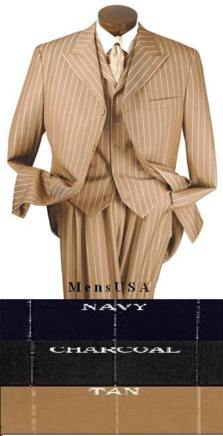 "SKU# YVH734 T64SA 3 Piece Suit, 4 Buttons, 34"" Length, peak Lapel, Square Bottom Bold Chalk Pinstripe $175"